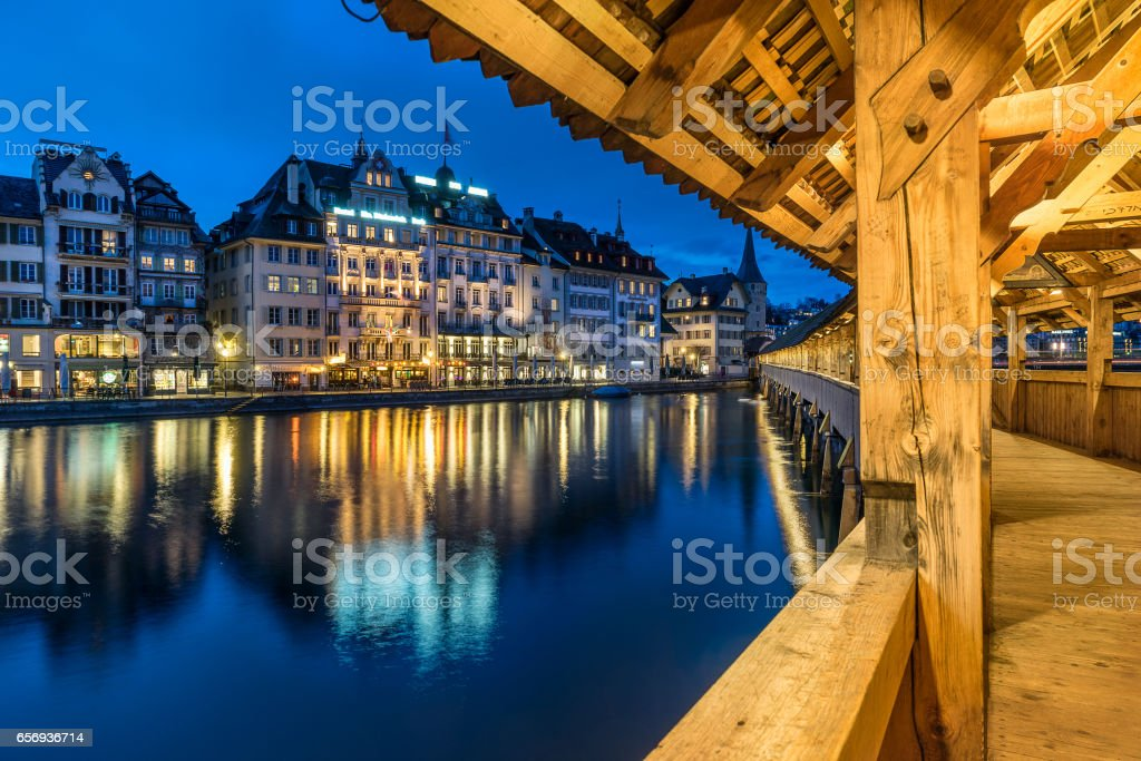 Chapel bridge also known as Kapellbruke  in Lucerne Switzerland stock photo