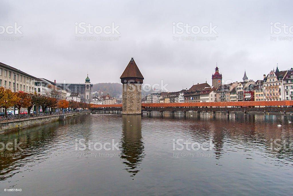 Chapel Bridge and Reuss River, Lucerne stock photo