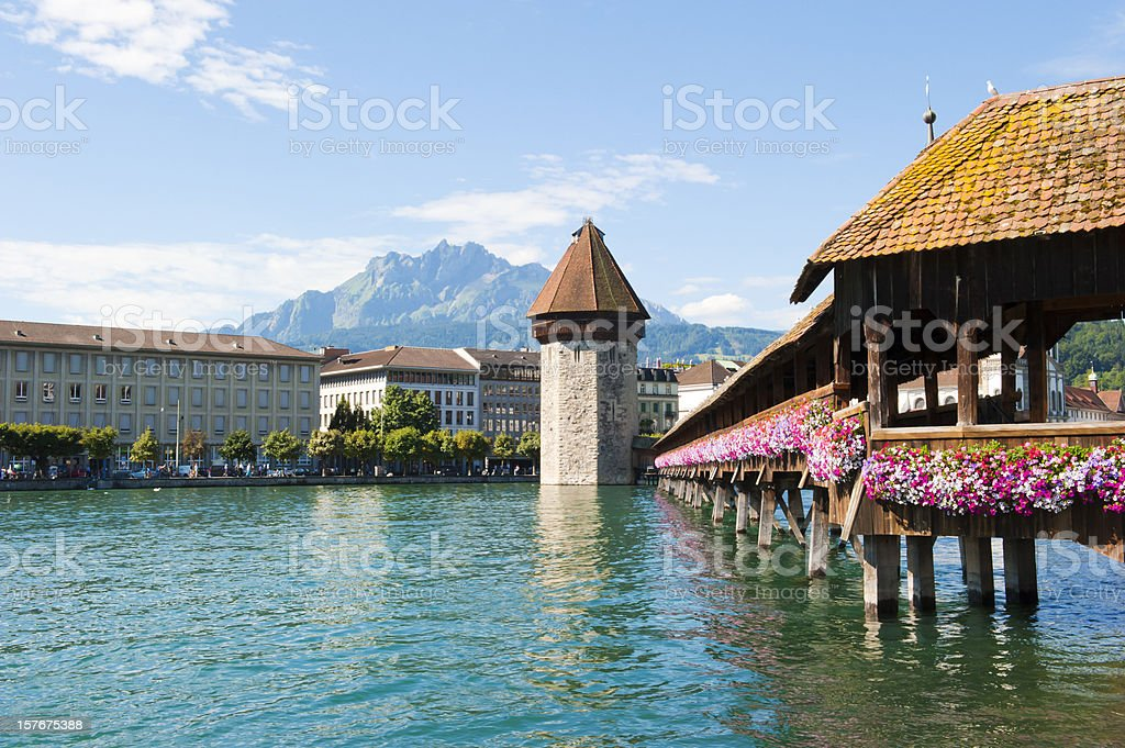 Chapel Bridge and the water tower over the River Reuss stock photo