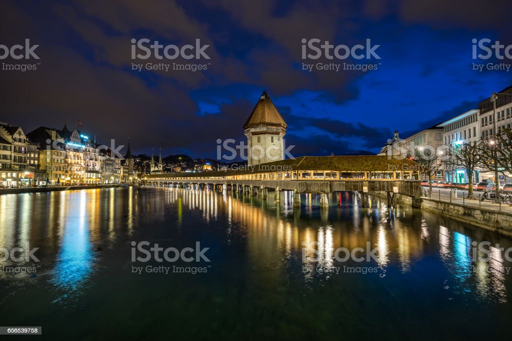 Chapel Bridge in Lucerne Switzerland stock photo