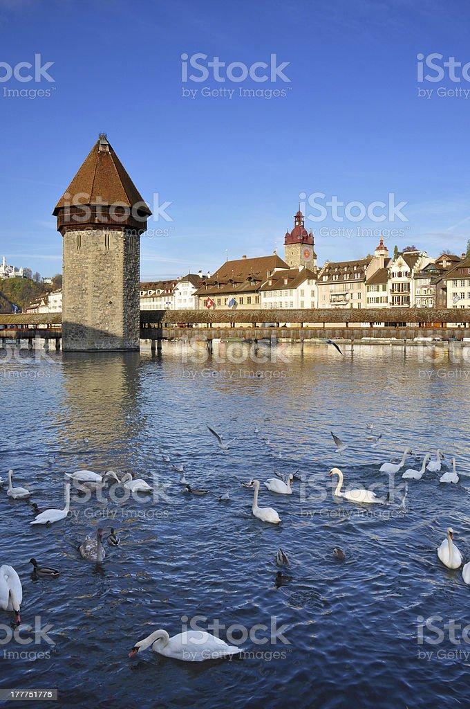 Chapel Bridge in Lucerne,Switzerland stock photo
