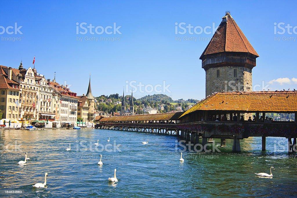 Chapel Bridge on River Reuss, Lucerne, Switzerland stock photo