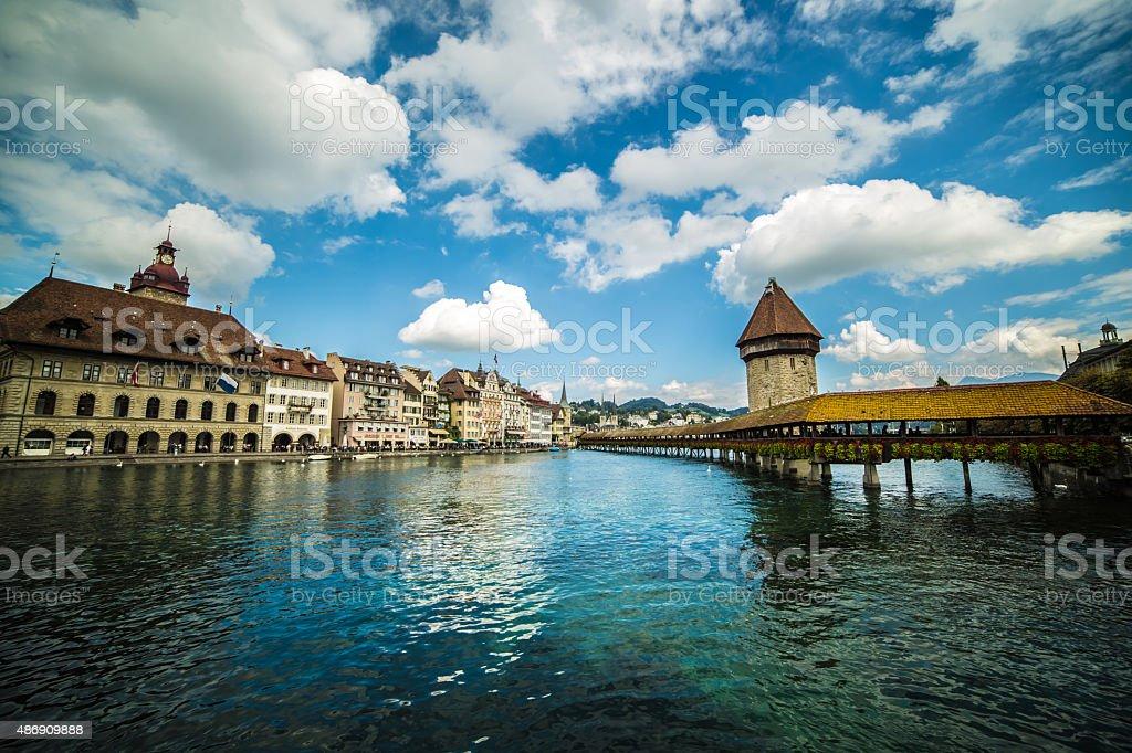 Chapel Bridge Over River Reuss, Lucerne-Switzerland stock photo