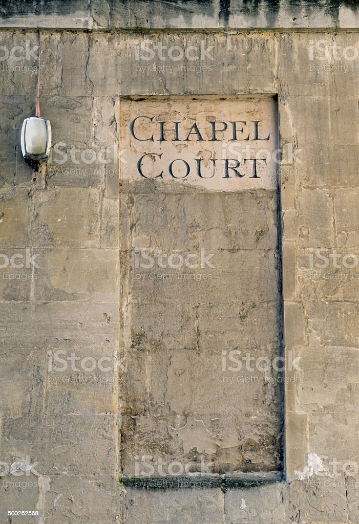Chapel Court and electric light in Bath England stock photo