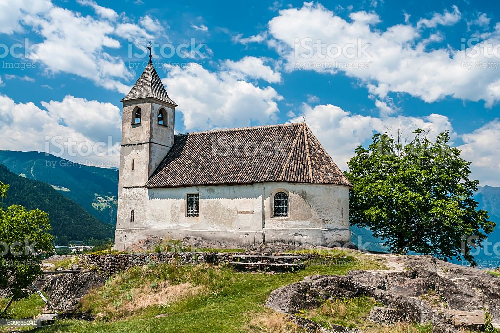 chapel in south tirol stock photo