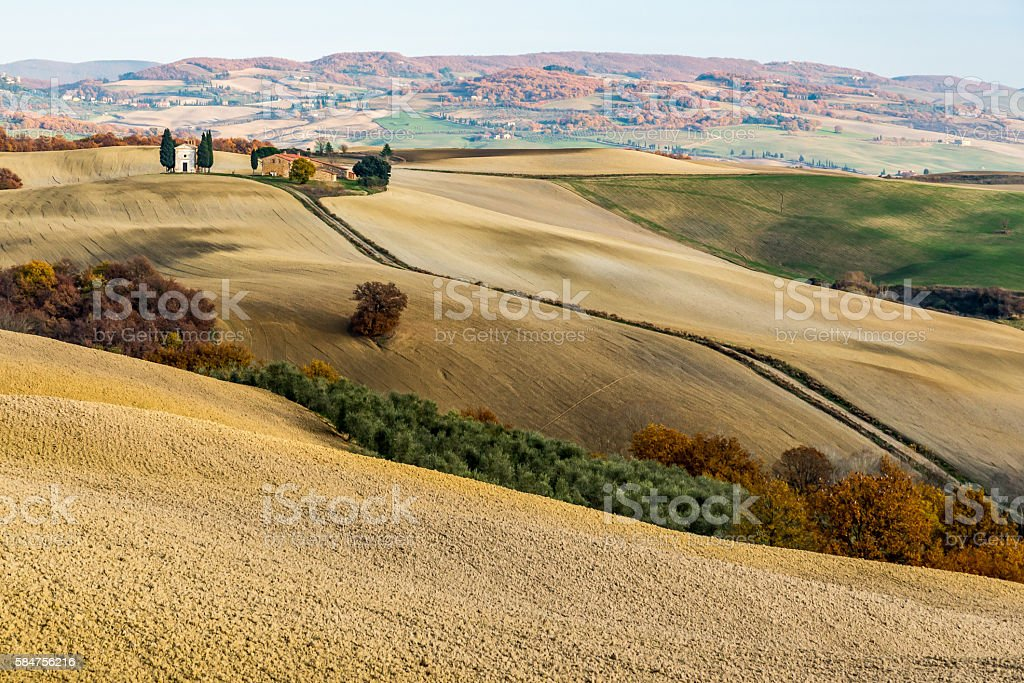chapel in southern tuscany stock photo