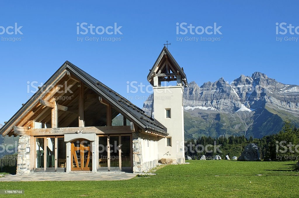 chapel in the mountains of Switzerland stock photo
