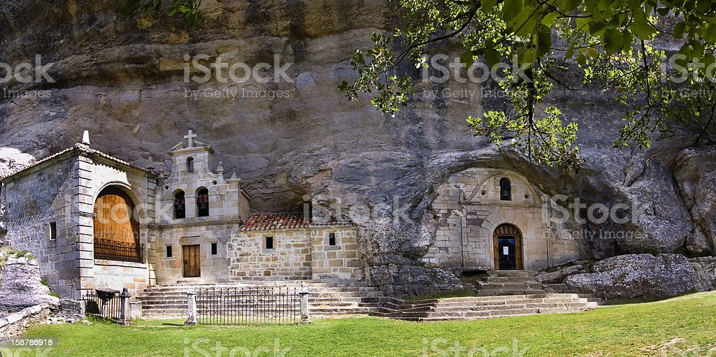 Chapel in the rock (San Bartolomé,Burgos) stock photo