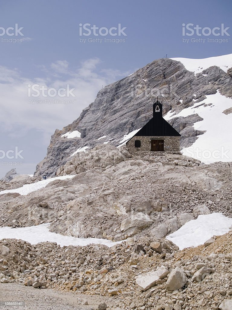 Chapel in the Zugspitze royalty-free stock photo
