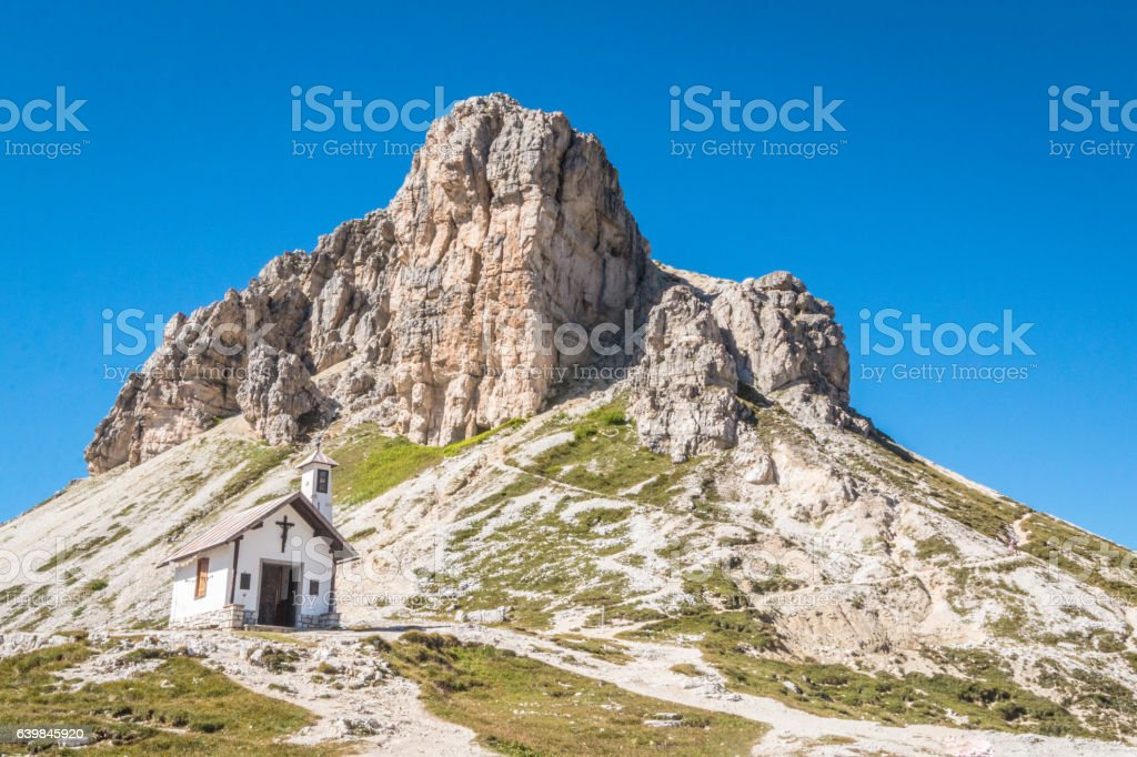 Chapel in Tre Cime stock photo