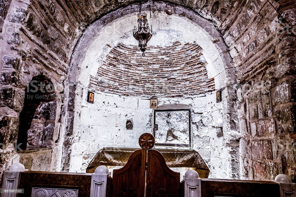 Chapel of Adam in Church of Holy Sepulchre in Jerusalem. stock photo
