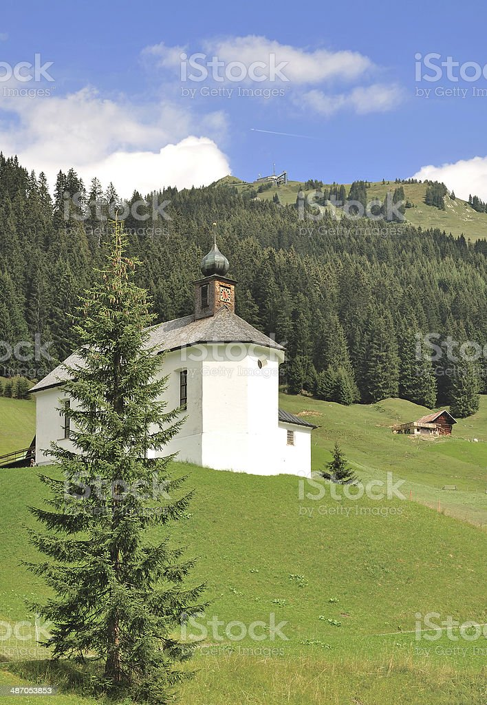 Chapel of Baad in Kleinwalsertal,Austria stock photo