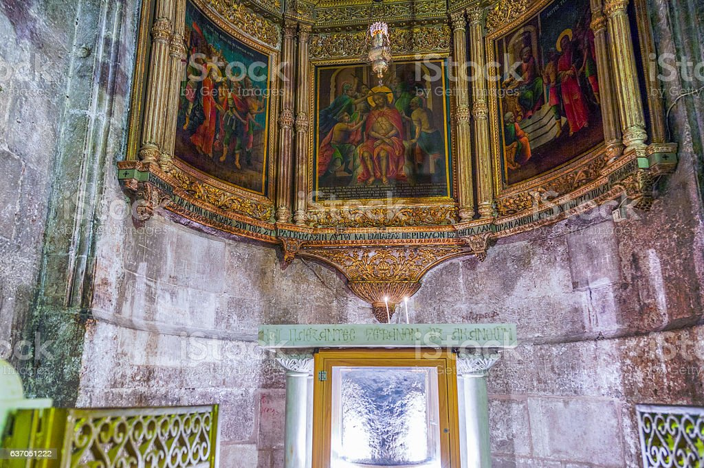 Chapel of Derision in the Church of Holy Sepulchre stock photo