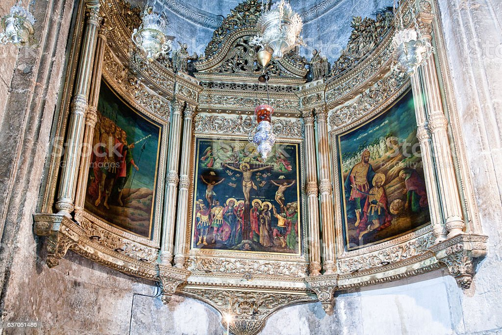 Chapel of Longinus in the Church of Holy Sepulchre stock photo