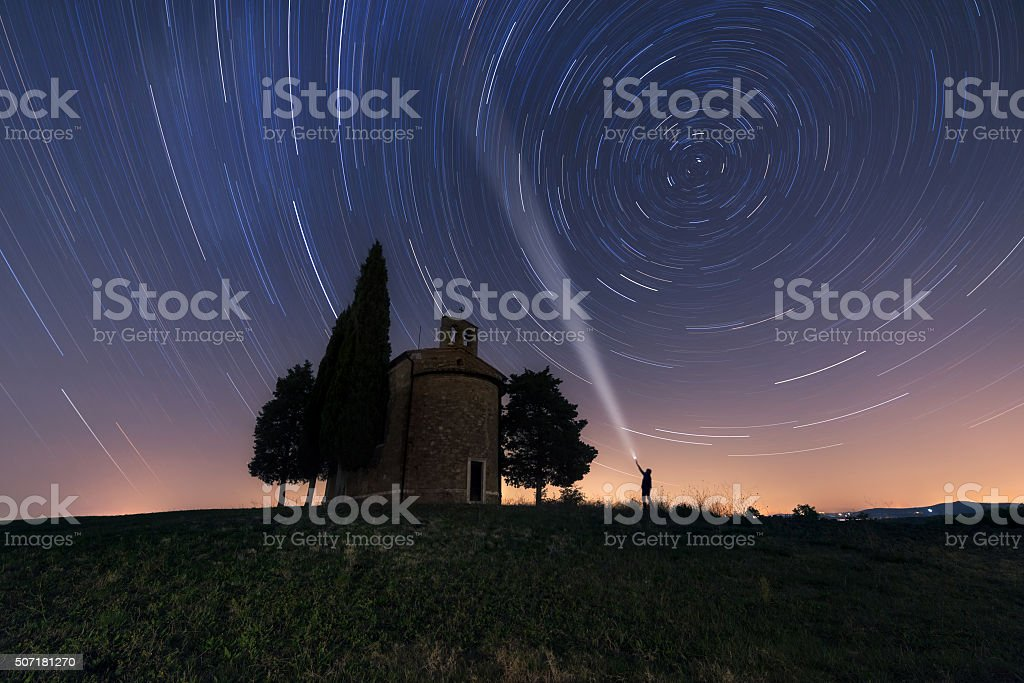 Chapel of Madonna di Vitaleta at night stock photo