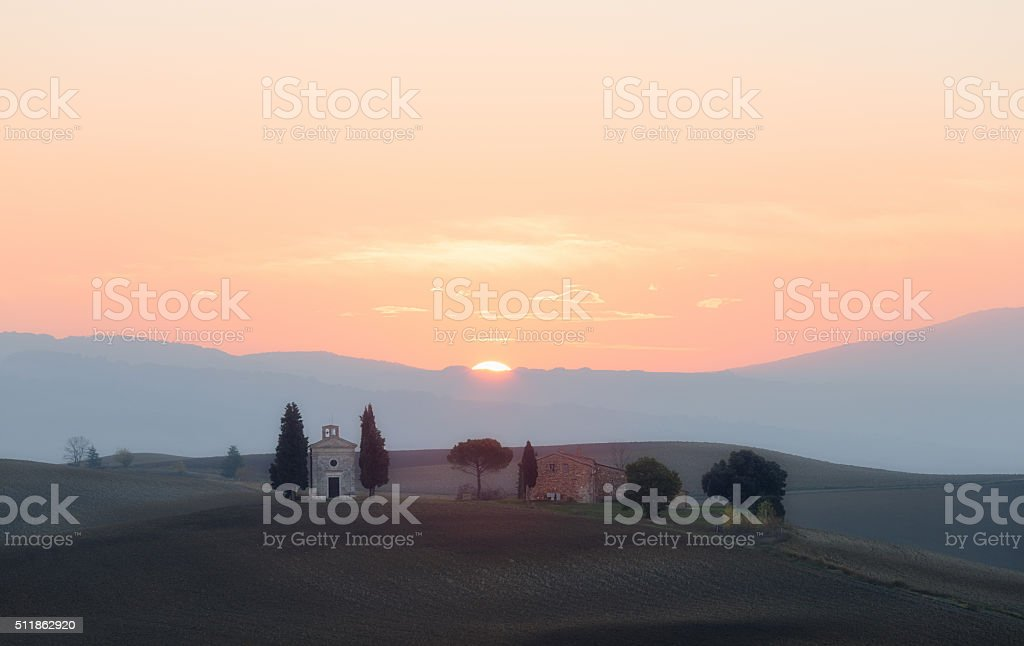 Chapel of Madonna di Vitaleta at sunrise stock photo