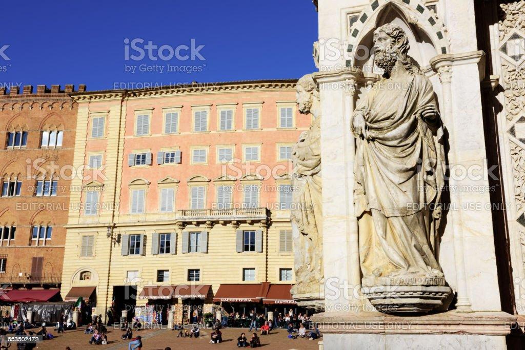 Chapel of Piazza del Campo Statue, Siena stock photo