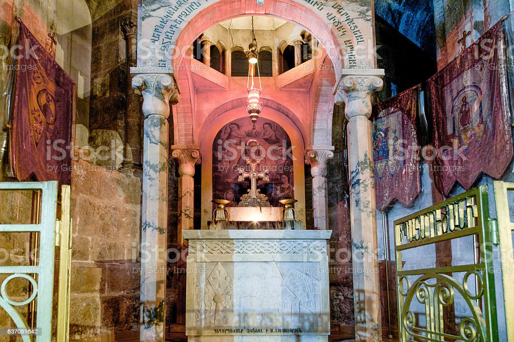 Chapel of Saint Helena in the Church of Holy Sepulchre stock photo