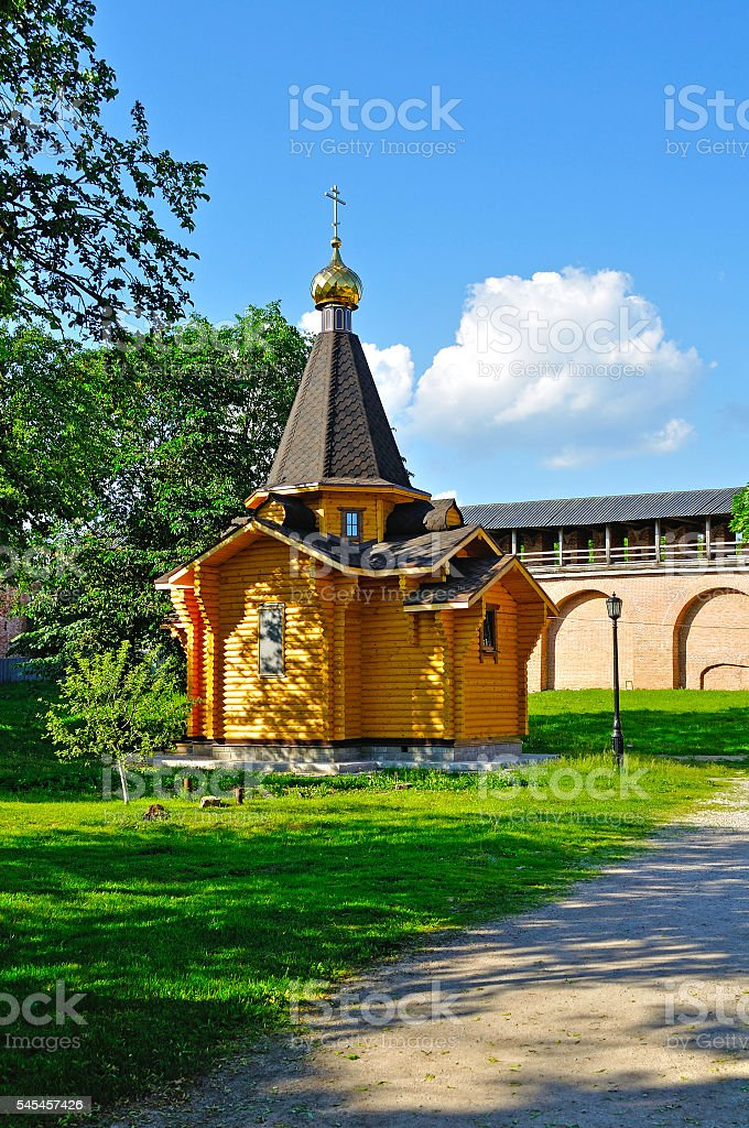 Chapel of St Vladimir in Veliky Novgorod, Russia stock photo