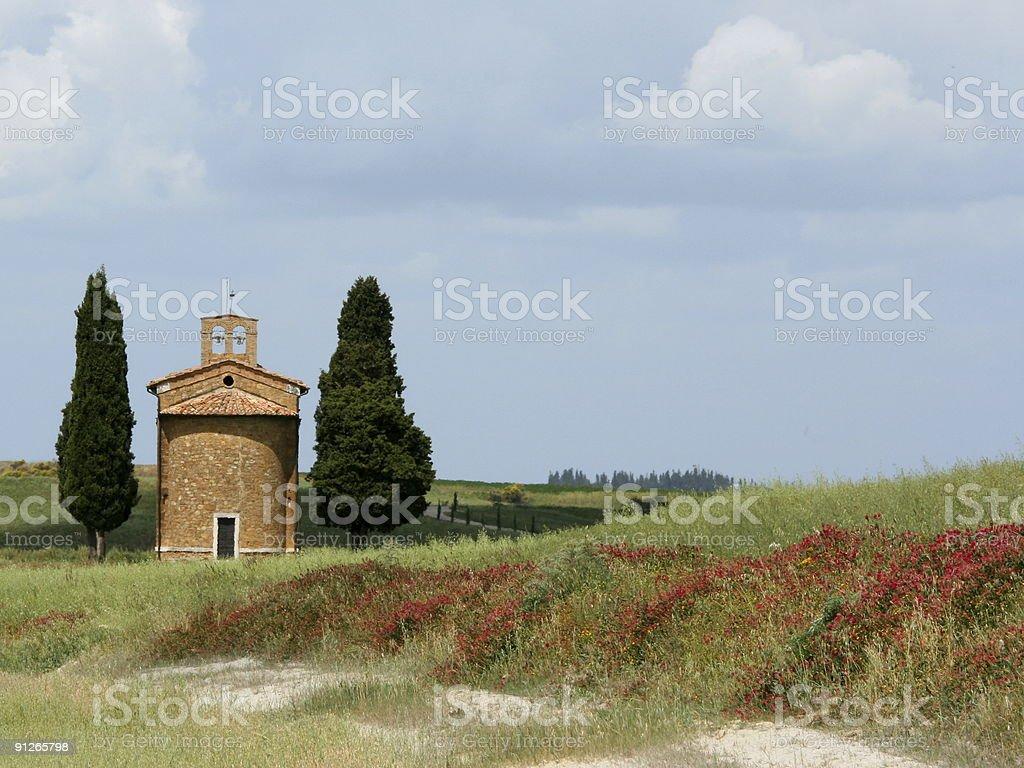 Chapel of Vitaleta Front Spring royalty-free stock photo
