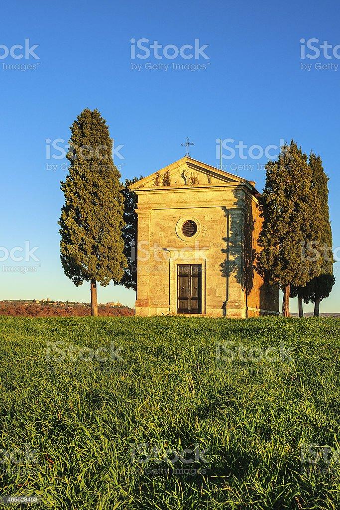 Chapel of Vitaleta, Italy royalty-free stock photo
