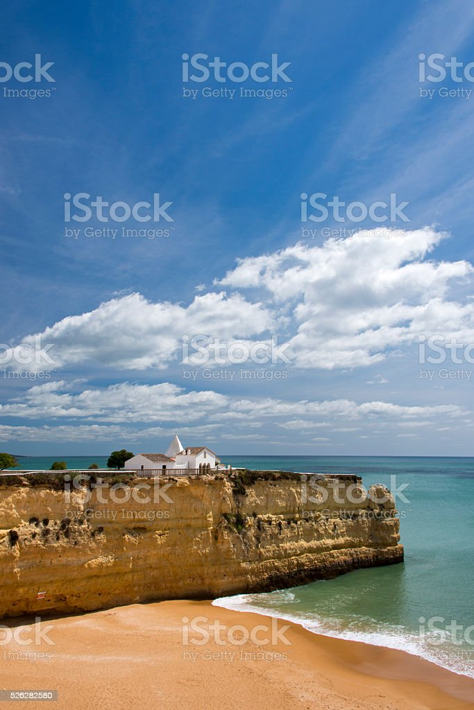 Chapel on a cliff stock photo