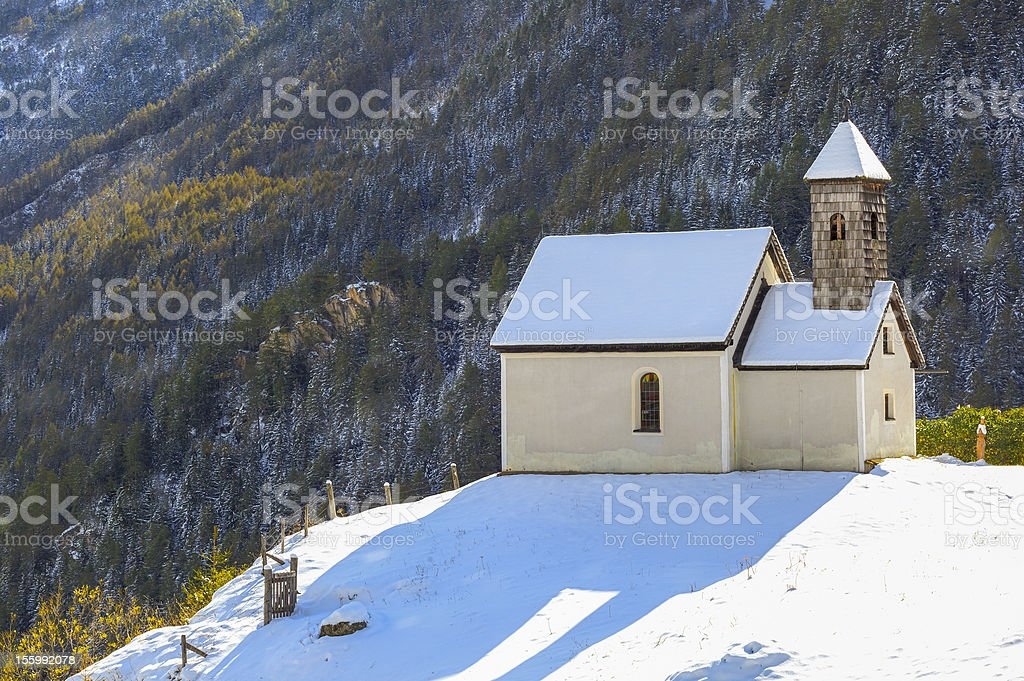 Chapel on a hill stock photo
