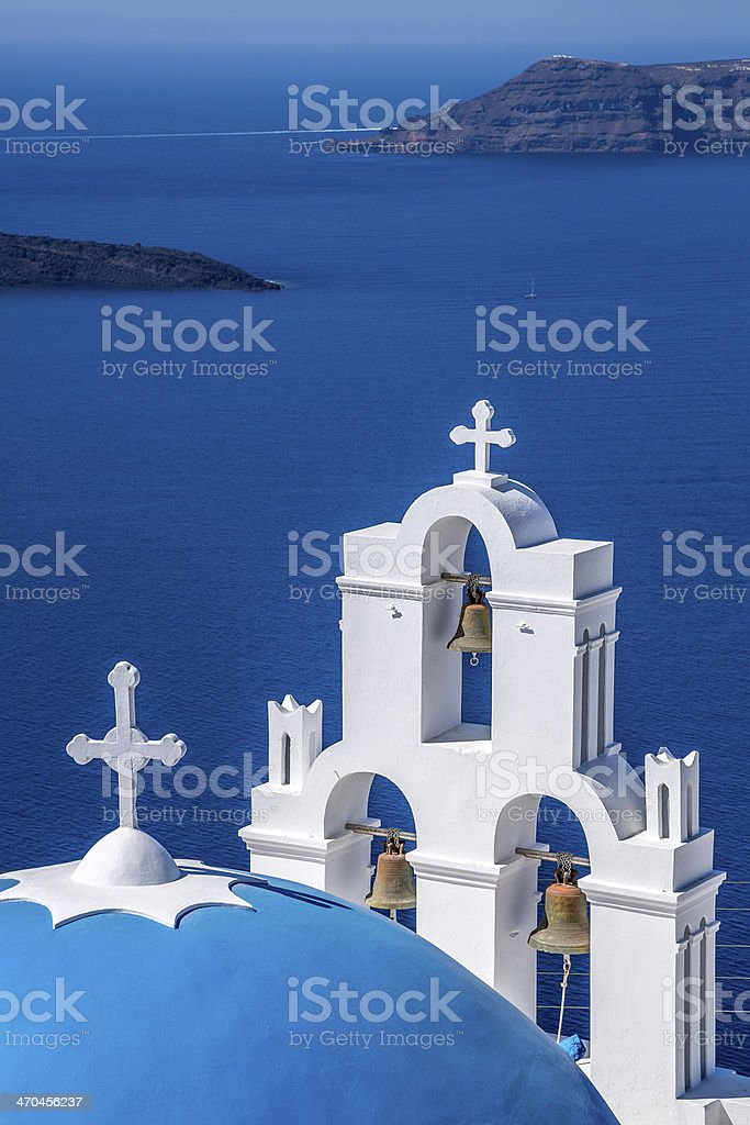 Chapel on Santorini Island, blue dome, Greece stock photo