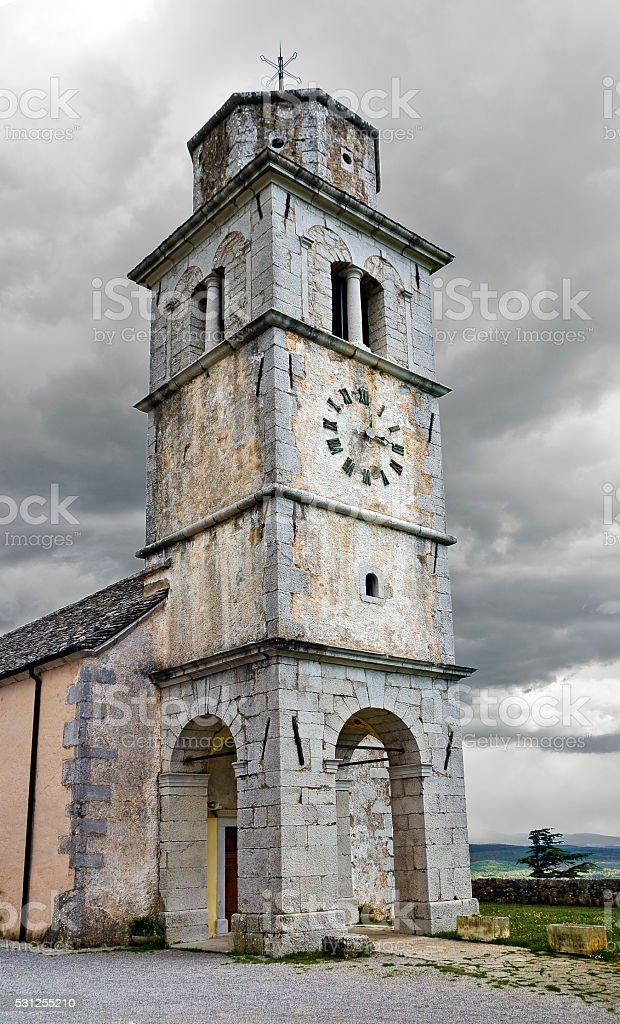 chapel  on the medevial fortification Tabor near Monrupino stock photo