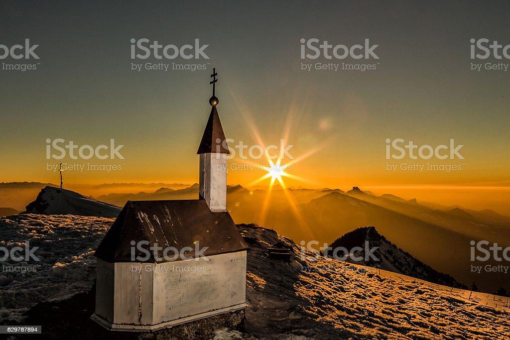 Chapel on the mountain summit stock photo