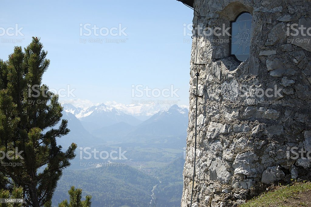 Chapel on top of the mountain royalty-free stock photo