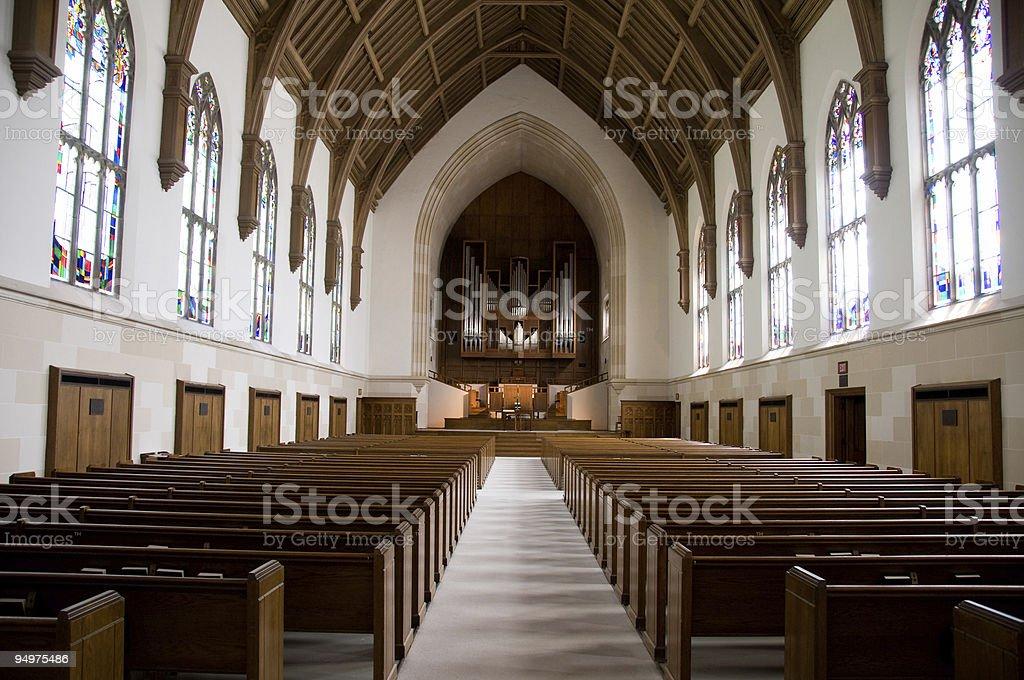 Chapel or church symmetric shot stock photo