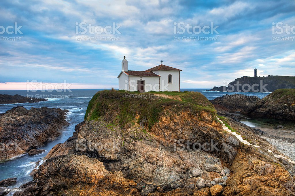 Chapel over the cliffs stock photo