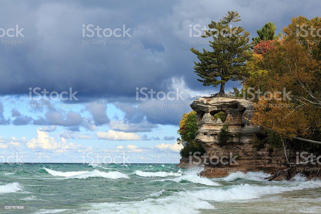 Chapel Rock and Lake Superior - Upper Peninsula of Michigan stock photo