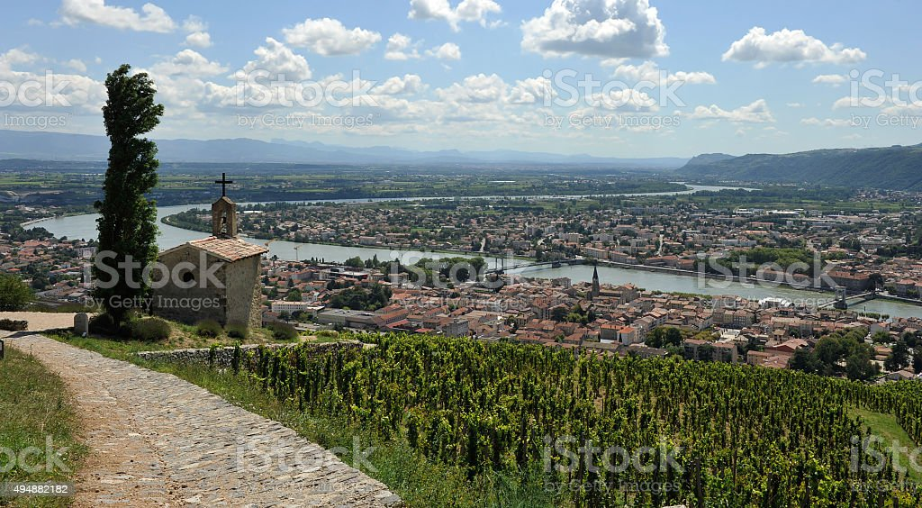 Chapel Saint-christophe over Tain l'Hermitage stock photo