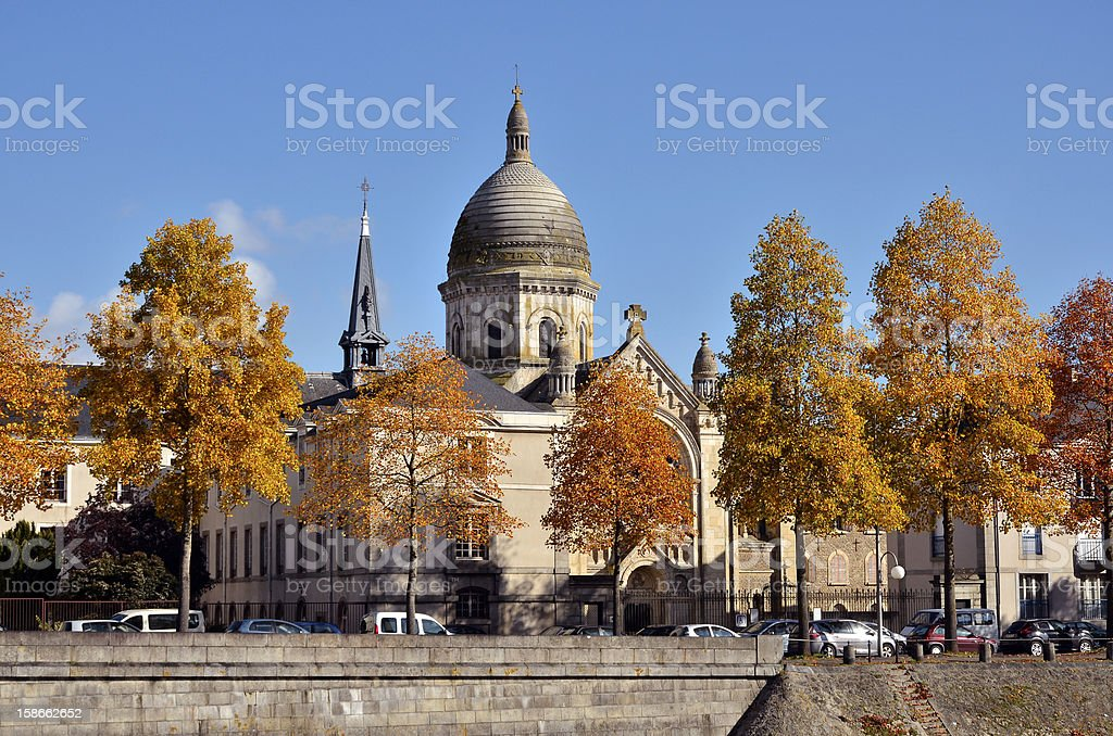 Chapel Saint-Julien at Laval in France stock photo