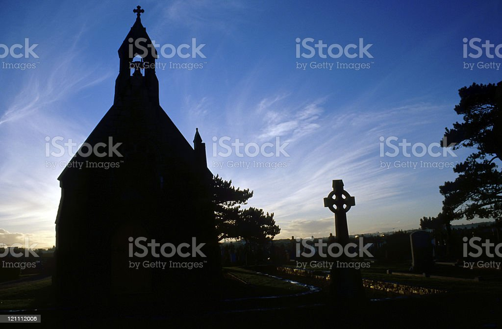 chapel silhouette in front of the setting sun royalty-free stock photo