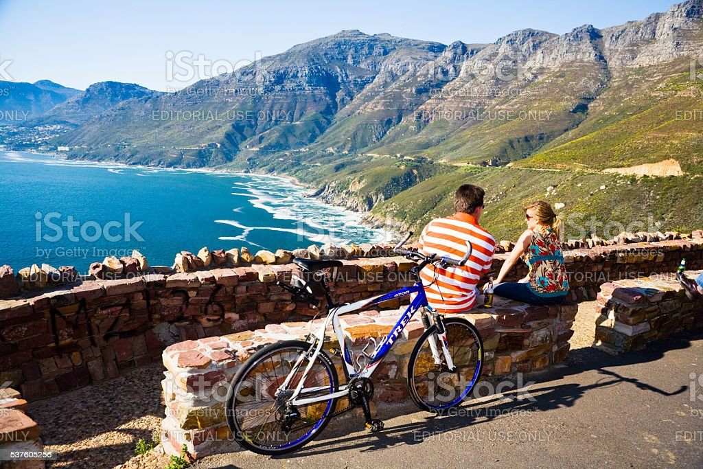 Chapmans Peak, Cape Town, view, tourist couple, bicycle, beauty spot, stock photo