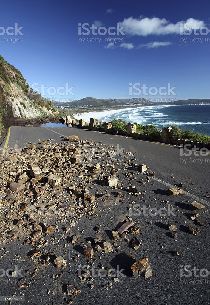Chapmans Peak Drive rockfalls stock photo