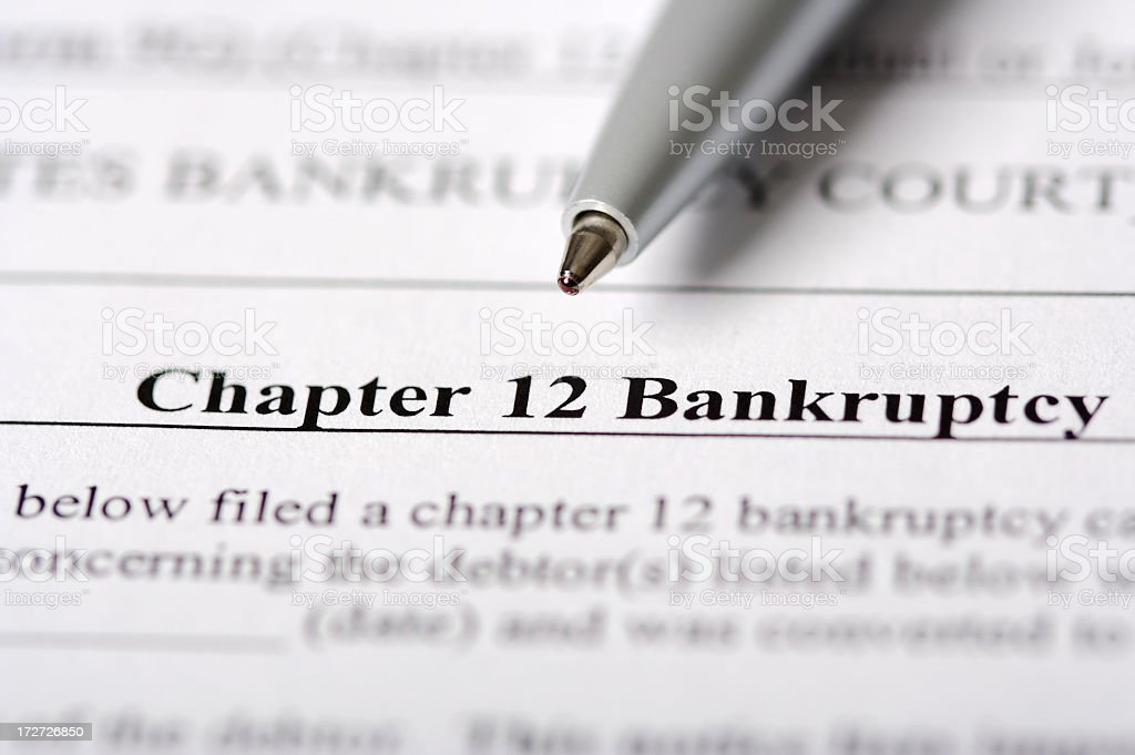 Chapter 12 Bankruptcy Paperwork stock photo