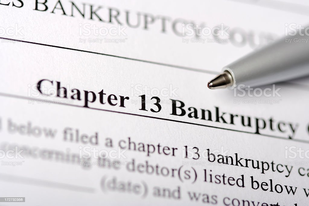Chapter 13 Bankruptcy Paperwork stock photo