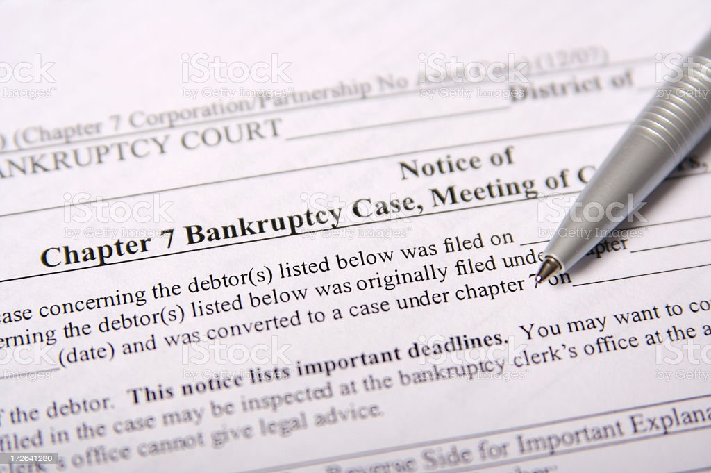 Chapter 7 Bankruptcy Paperwork stock photo