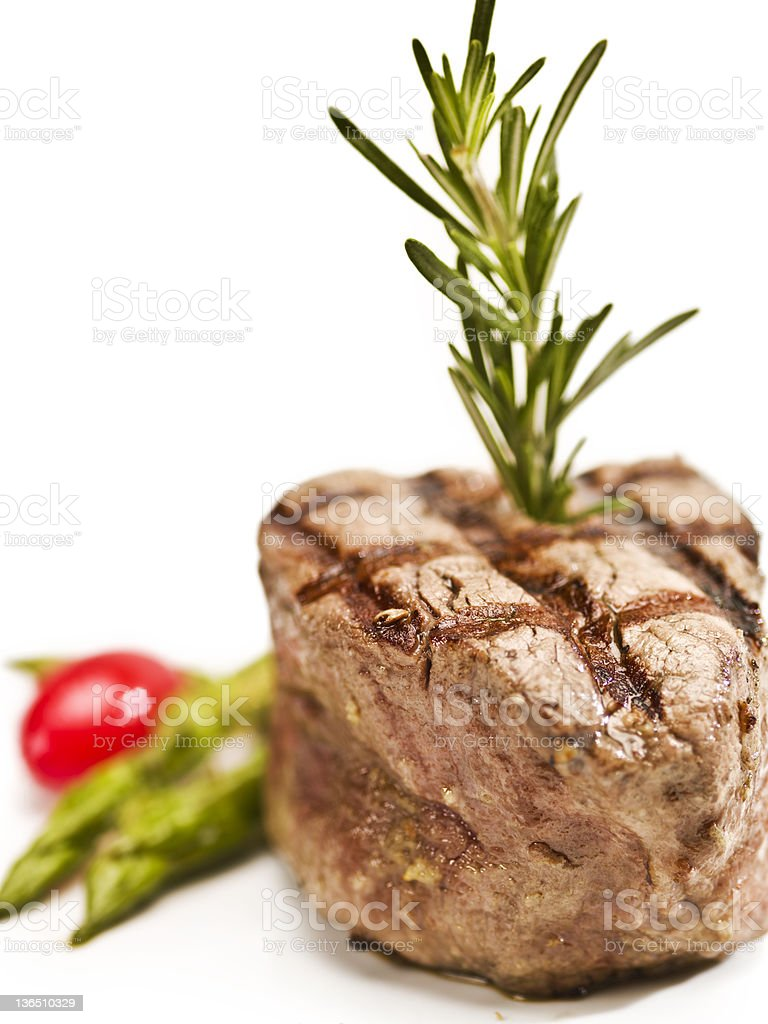 char grilled Fillet Mignon on white background royalty-free stock photo
