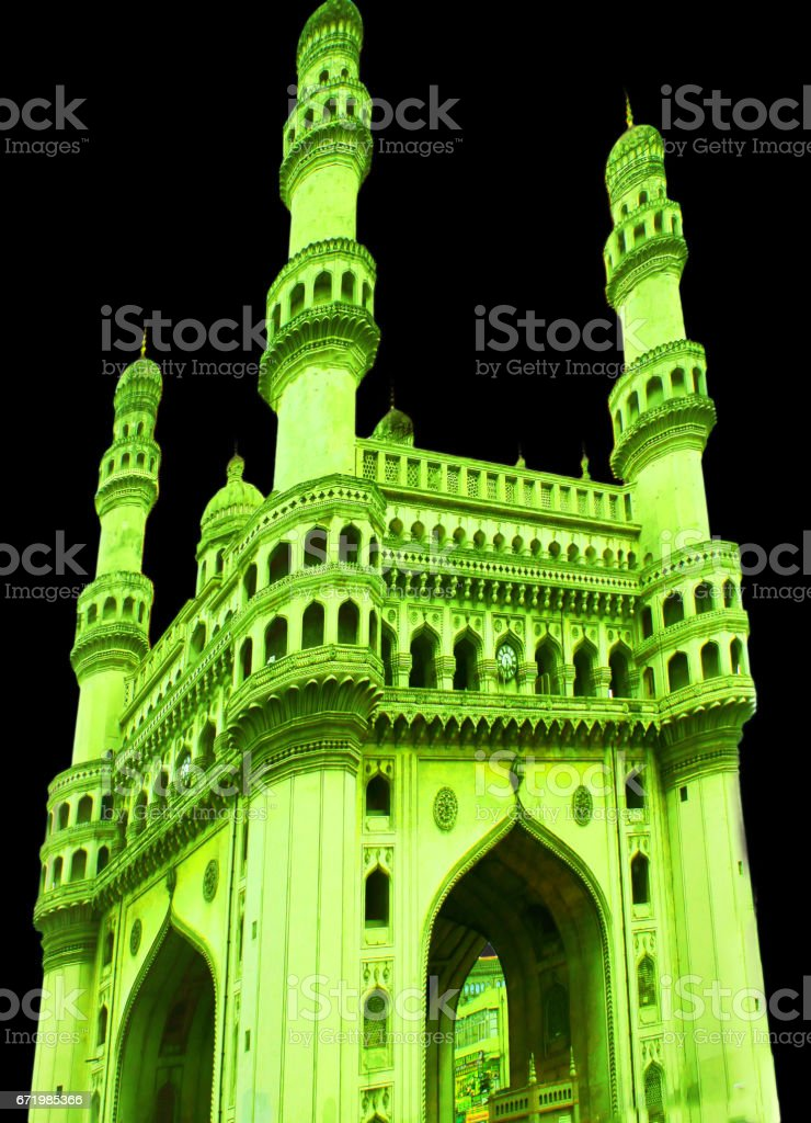 Char Minar lit with green color in Hyderabad, India stock photo