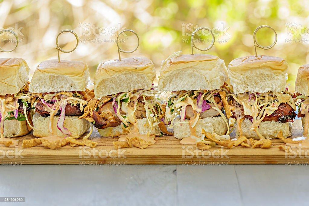 Char Siu Chicken Sliders stock photo