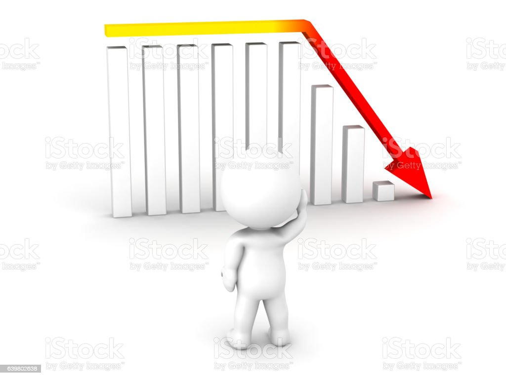 3D Character and Bad Chart stock photo