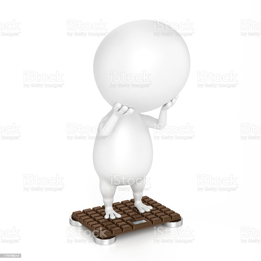 Character And Bathroom Scale (Chocolate Design) royalty-free stock photo