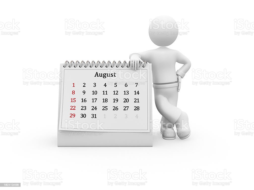 3D character and blank descktop calendar. August. royalty-free stock photo