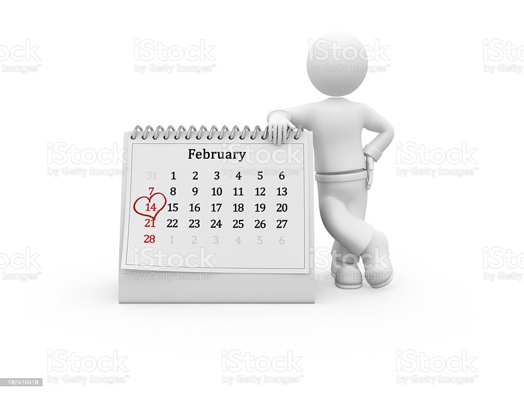 3D character and blank descktop calendar. Valentine's day. royalty-free stock photo