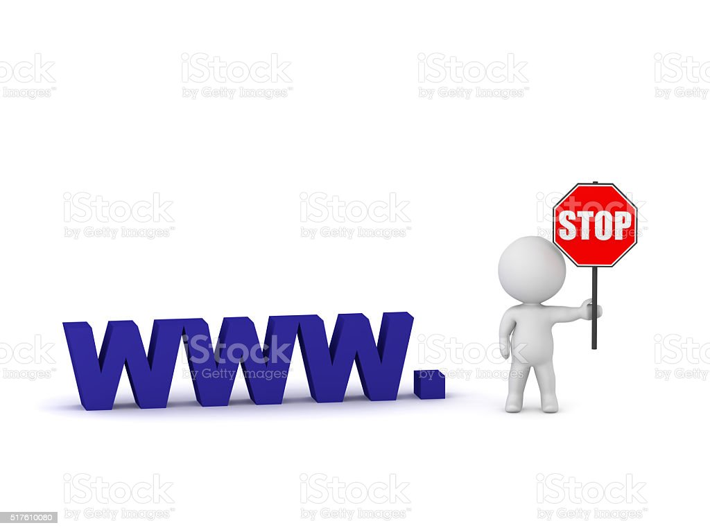 3D Character and Blocked Website stock photo
